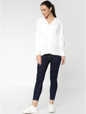 Dark Blue High Rise Frayed Hem Skinny Jeans