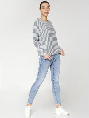 Light Blue Mid Rise Distressed Skinny Jeans