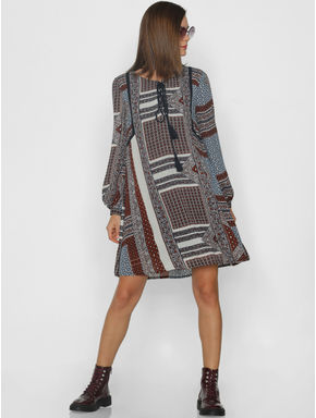 Brown All Over Print Shift Dress
