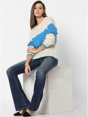 White Colourblocked Pullover