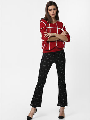 Black Mid Rise All Over Print Bootcut Jeans