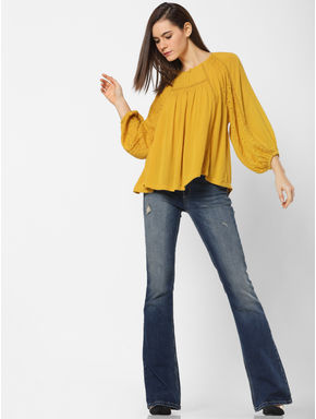 Mustard Cut Work Flared Top