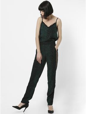 Green High Rise Animal Print Pants