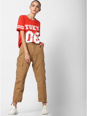 Brown High Rise Cargo Pants