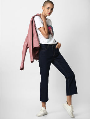 Dark Blue Mid Rise Flared Jeans