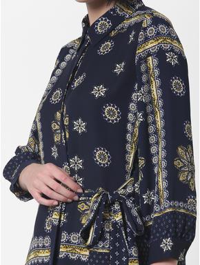 Navy Blue Printed Shirt Dress