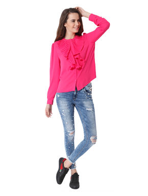 Pink Pleated Frill Detail Shirt