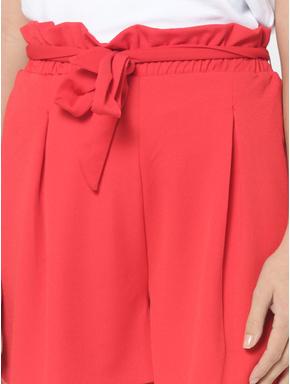 Red Paperbag Waist Shorts