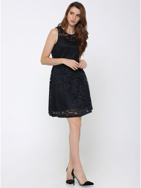 Navy Blue Lace Fit & Flare Dress
