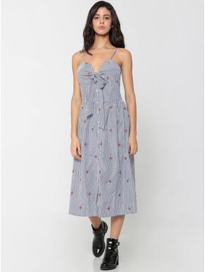 Blue Striped Front Knot Midi Dress