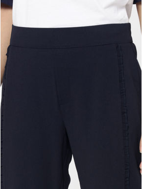 Navy Blue Mid Rise Frill Detail Pants