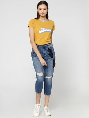 Blue Mid Rise Embroidered Boyfriend Jeans