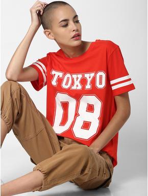 Red Tokyo Text Print T-shirt