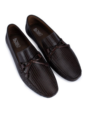 Dark Brown Moccasins With Bow On Top