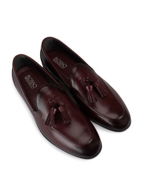 Burgundy Plain Loafers With Tassels