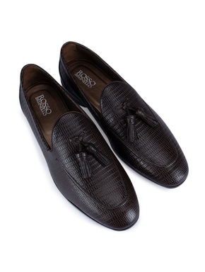 Brown Textured Loafers With Tassels