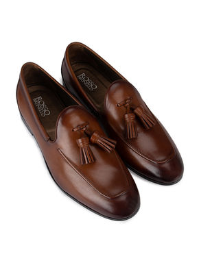 Brown Plain Loafers With Tassels