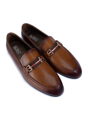 Brown Perforated Loafers