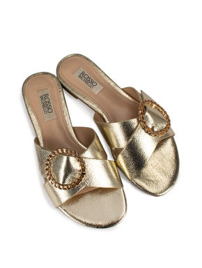 Gold Panelled Buckle Flats