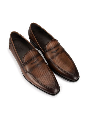 Patterned Brown Loafers