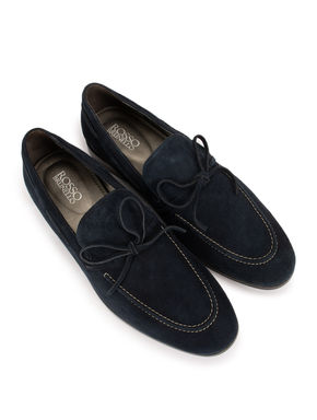 Navy Blue Suede Bow Loafers