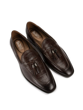 Coffee Croco Leather Loafers