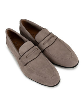 Beige Suede Panel Loafers