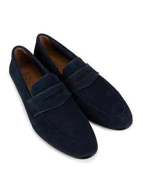 Navy Suede Panel Loafers