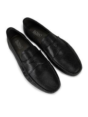 Black Snake effect Leather Moccasins