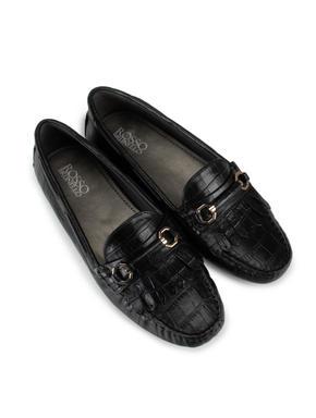 Black Croco Effect Moccasins