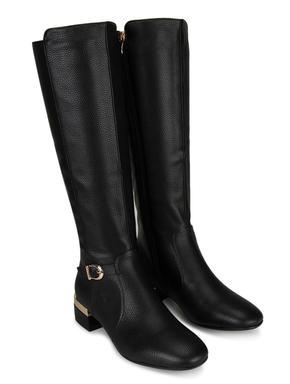 Black Calf Length Heeled Boots