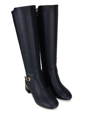 Navy Calf Length Heeled Boots