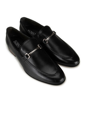 Black Metal Buckled Loafers