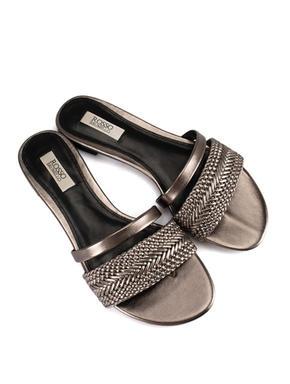 Silver Embellished Slides
