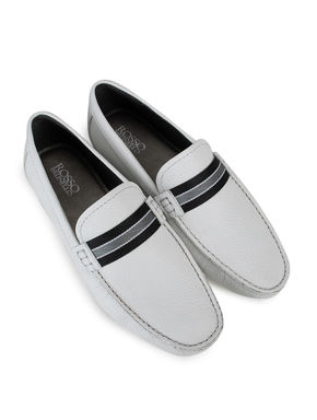 White Textured Leather Moccasins