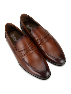 Brown Leather Panel Loafers