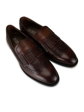 Coffee Fringe Cut Loafers