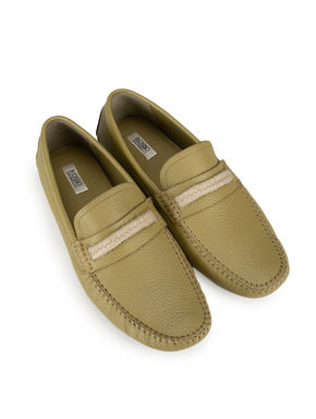 Green Casual Leather Moccasins