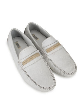 White Casual Leather Moccasins