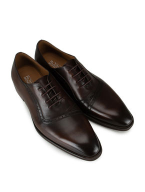 Coffee Leather Lace-Ups