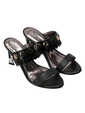 Black Chrome Button Detailed Strappy Heels