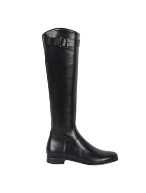 Black Knee Length Buckle Strap Boots