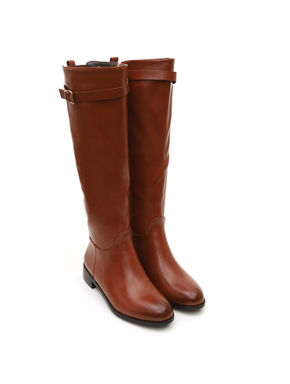 Tan Knee Length Buckle Strap Boots