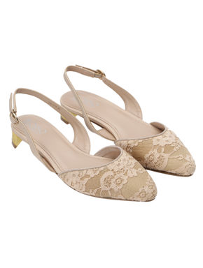 Beige Lace Fabric Slingback Heels