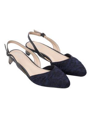 Blue Lace Fabric Slingback Heels