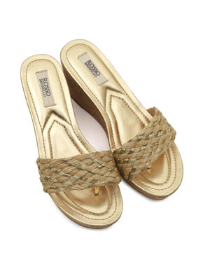 Gold Woven Wedges