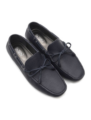 Navy Blue Leather Moccasins With Bow