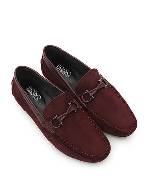 Metal Buckled Leather Moccasins