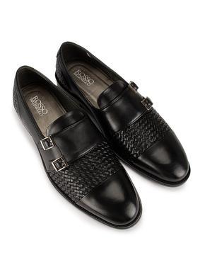 Black Woven Pattern Loafers