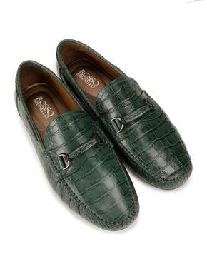 Green Croco Pattern Loafers